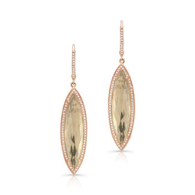 14KT Rose Gold Diamond White Topaz Serena Marquis Earrings