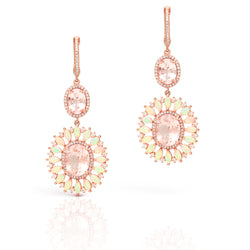 14KT Rose Gold Diamond Opal Morganite Fiorella Earrings
