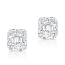 14KT White Gold Baguette Diamond Nina Earrings