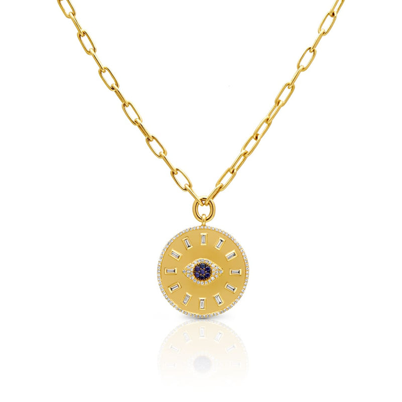 14KT Yellow Gold Baguette Diamond Sapphire Evil Eye Medallion Charm