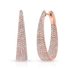 14KT Rose Gold Diamond Kara Hoop Earrings