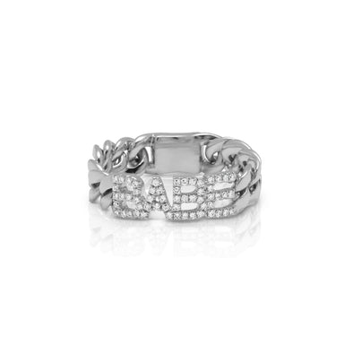 14KT White Gold Diamond Babe Chain Link Ring