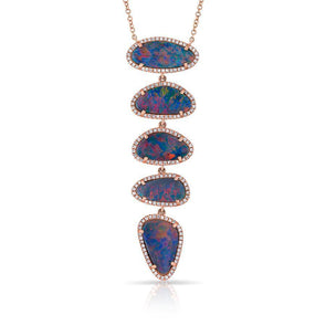 14KT Rose Gold Diamond Opal 5 Stones Ashley Necklace