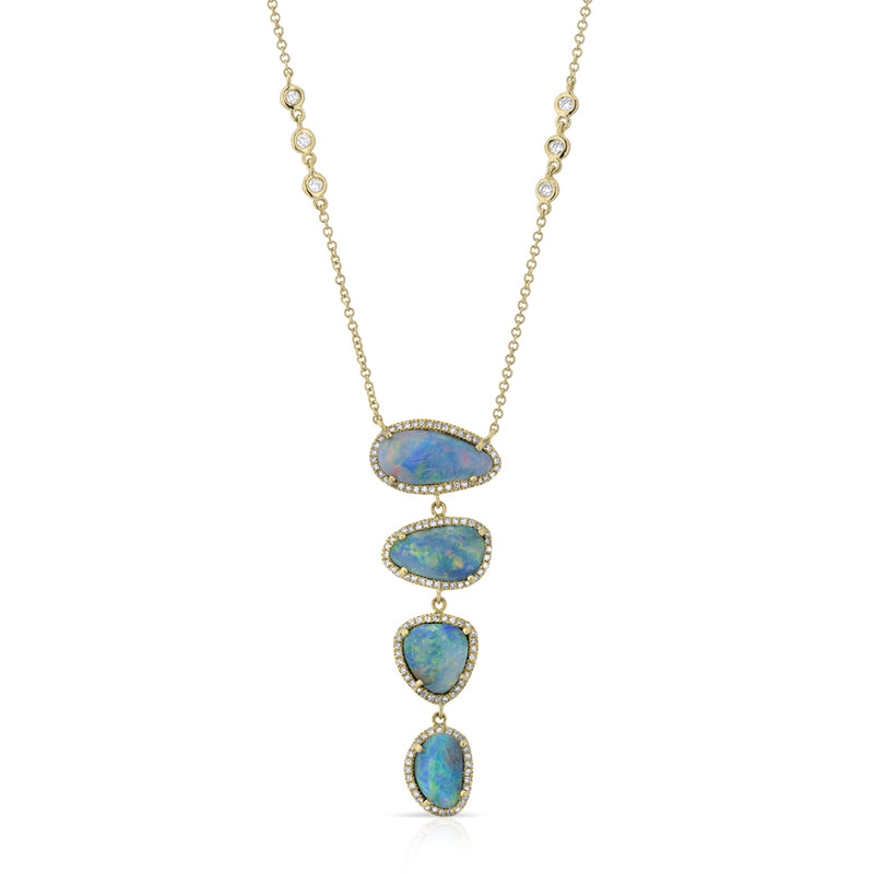 14KT Yellow Gold Opal and Bezel Diamond Lariat Necklace