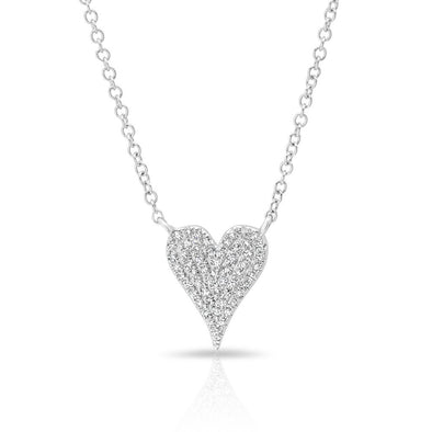 14KT White Gold Diamond Small Modern Pave Heart Necklace