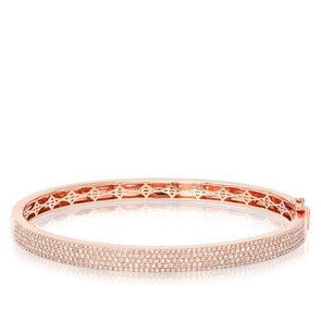 14KT Rose Gold Half Pave Diamond Bangle