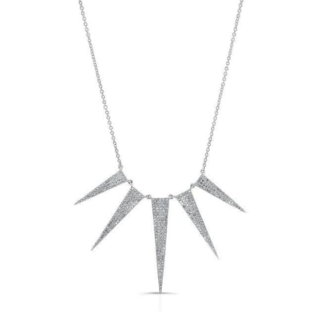 14KT White Gold Diamond 5 Spike Necklace