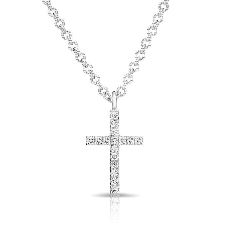 14KT White Gold Diamond Cross Necklace