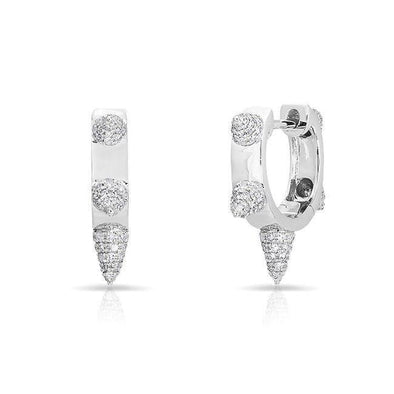 14KT White Gold Diamond Punk Rock Huggie Earrings