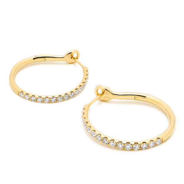 14KT Yellow Gold Diamond Kaia Hoop Earrings