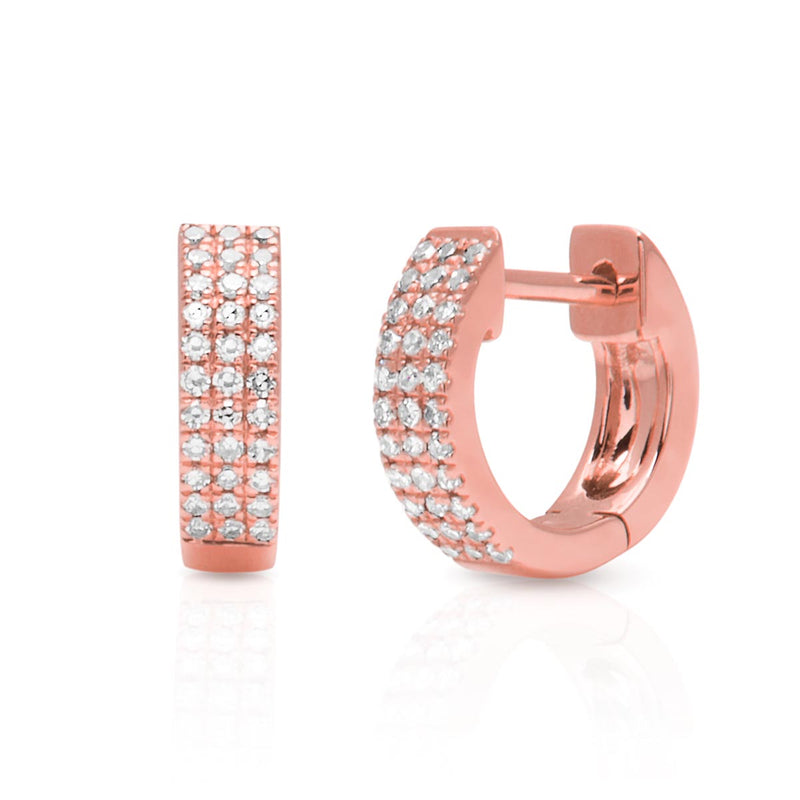 14KT Rose Gold Diamond Chloe Huggie Earrings