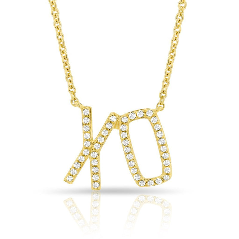 14KT Yellow Gold Diamond XO Necklace