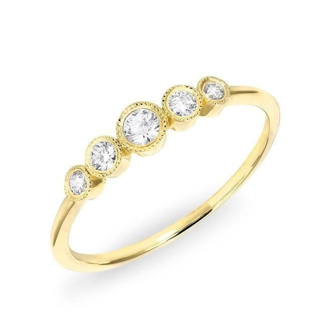 14KT Yellow Gold Diamond Hazel Bezel Ring