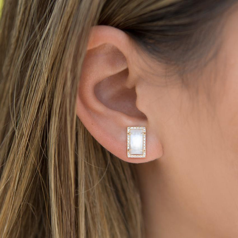 14KT Rose Gold Diamond Mother of Pearl Sara Stud Earrings-Anne Sisteron