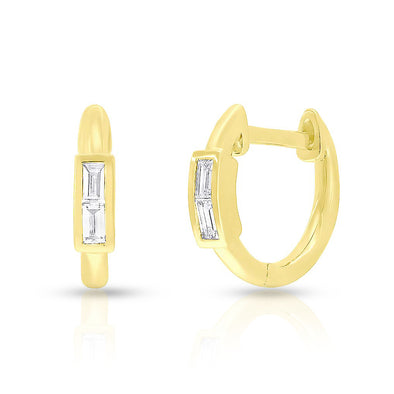 14KT Yellow Gold Baguette Diamond Layla Huggie Earrings