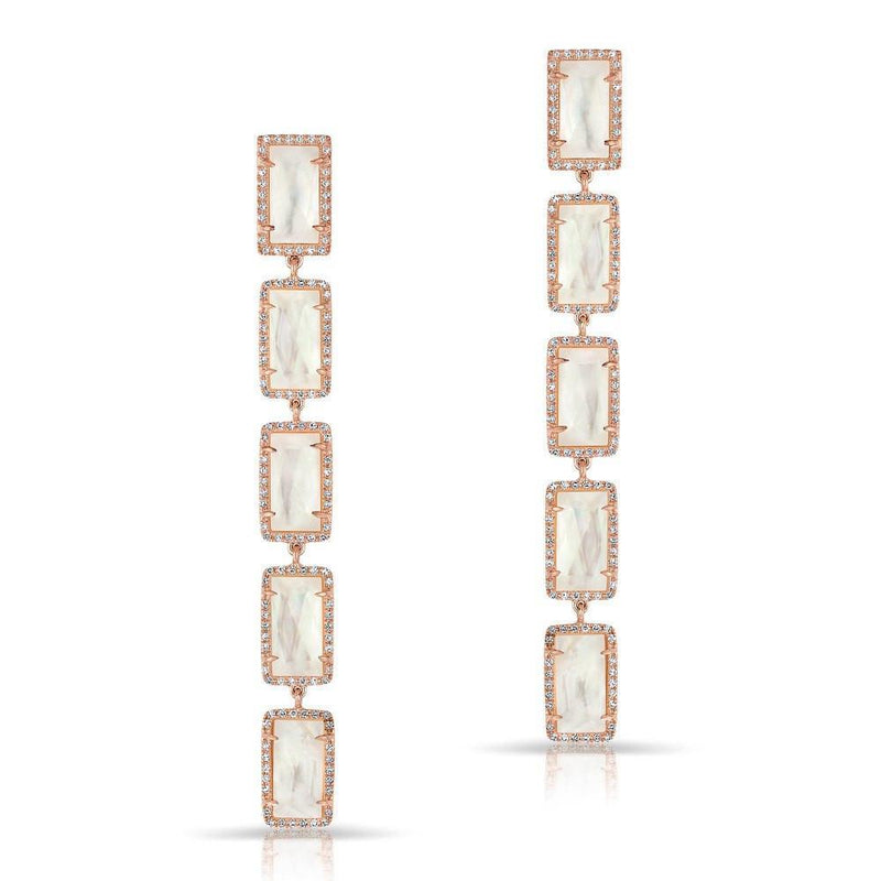 14KT Rose Gold Mother of Pearl Diamond Five Rectangle Drops Shandi Earrings