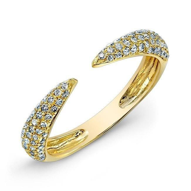 14KT Yellow Gold Diamond Horn Ring