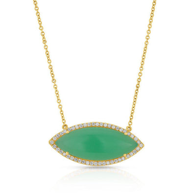 14KT Yellow Gold Chrysoprase Marquis Necklace