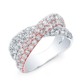 14KT Rose And White Gold Diamond Twist Ring