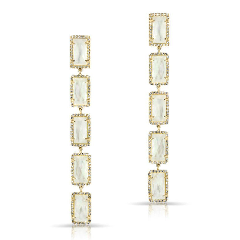 14KT Yellow Gold Mother of Pearl Diamond Five Rectangle Drops Shandi Earrings