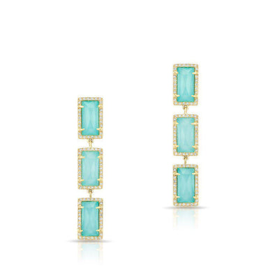 14KT Yellow Gold Turquoise Diamond Triple Rectangle Drop Shandi Earrings