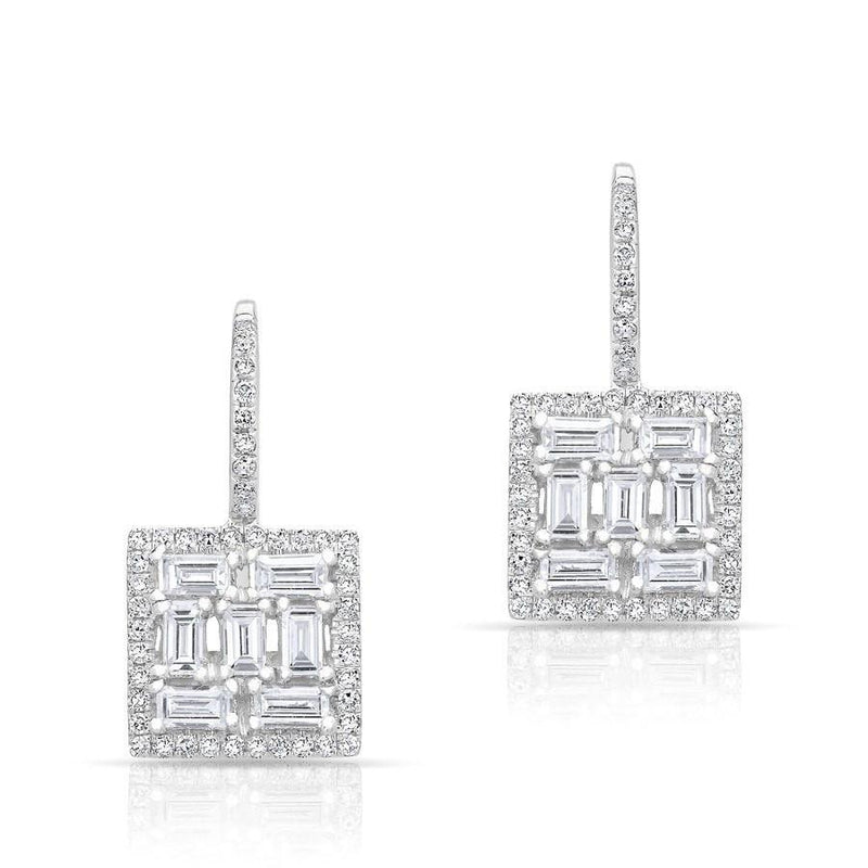 14KT White Gold Baguette Diamond Square Labrynthe Earrings
