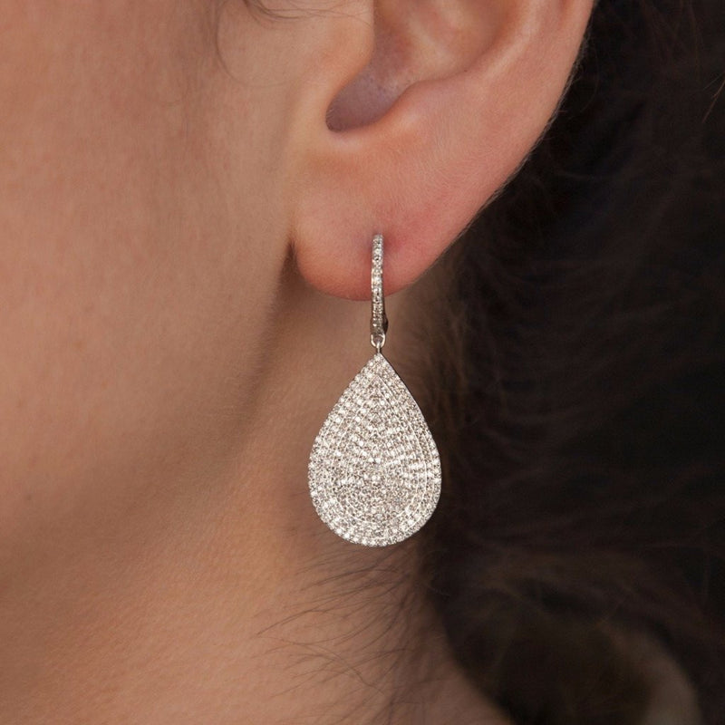 14KT White Gold Diamond Large Pear Shaped Earrings