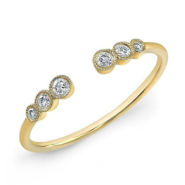 14KT Yellow Gold Open Bezel Set Diamond Ring