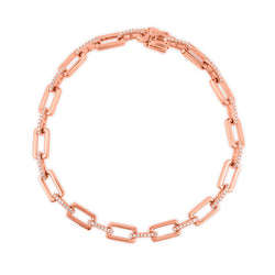 14KT Rose Gold Diamond Peyton Links Bracelet