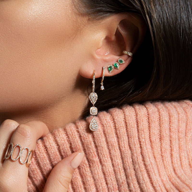 14KT White Gold Diamond Emerald Valis Ear Climber-Anne Sisteron