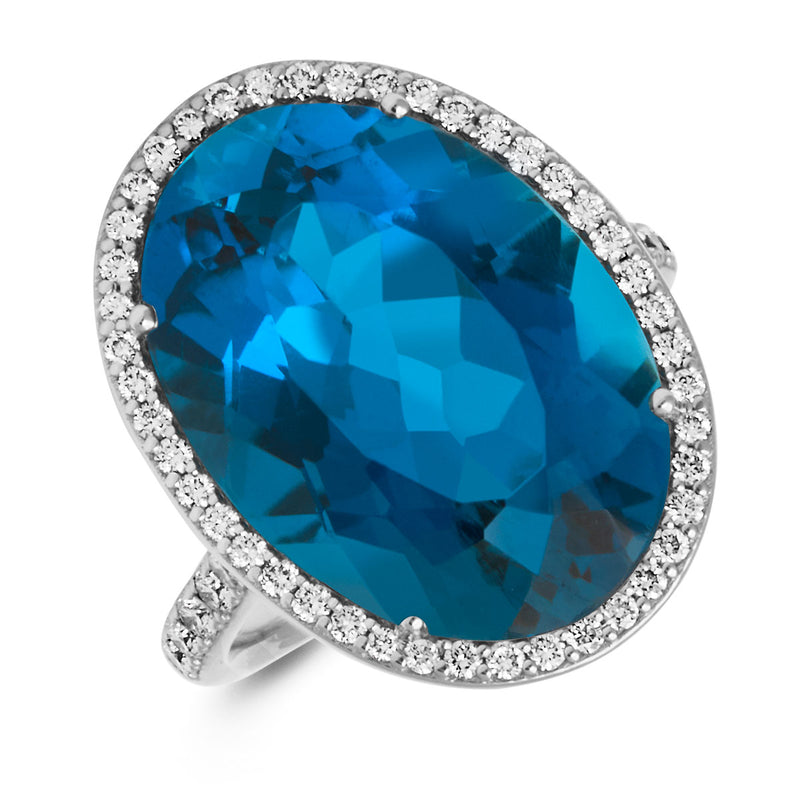 18KT White Gold London Blue Topaz Diamond Eudora Ring