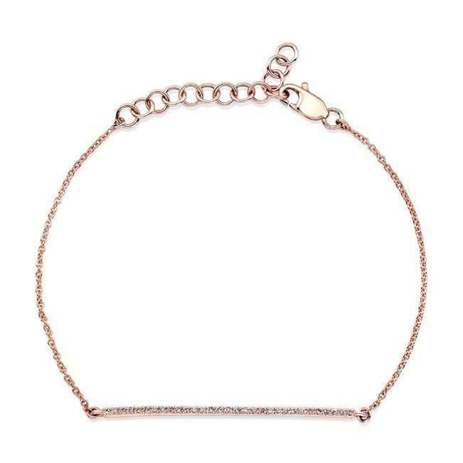 14KT Rose Gold Diamond Bar Bella Bracelet