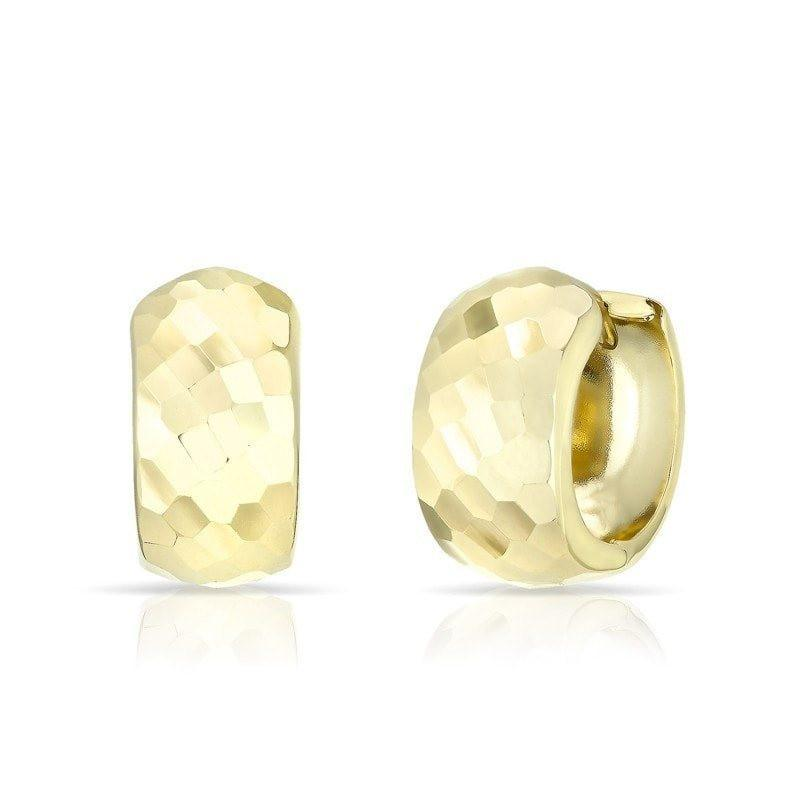 14KT Solid Yellow Gold Hammered Thick Huggie Earrings
