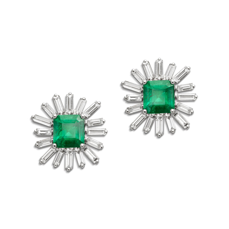14KT White Gold Baguette Diamond Emerald Earrings