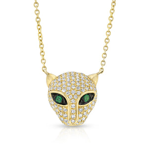 14KT Yellow Gold Diamond Emerald Jaguar Necklace