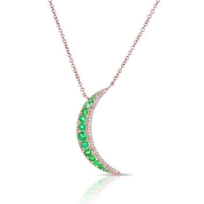 14KT Rose Gold Emerald Moon Diamond Necklace