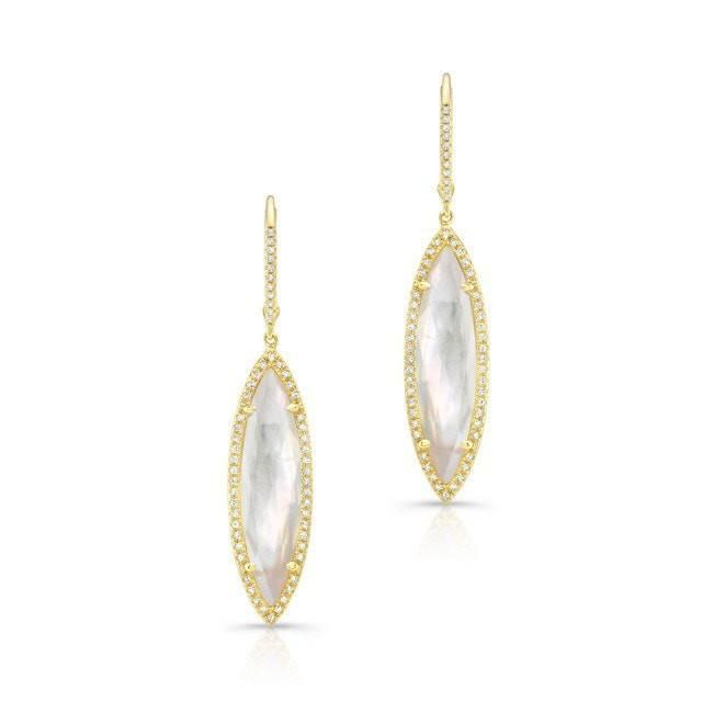 14KT Yellow Gold Diamond Mother of Pearl Small Celeste Marquis Earrings