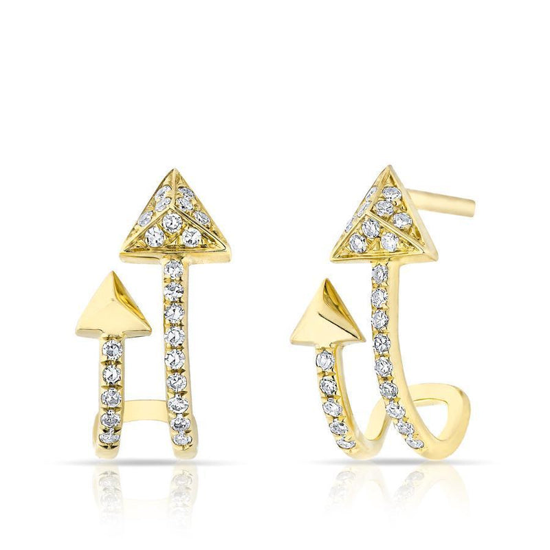 14KT Yellow Gold Diamond Curved Arrow Huggie Earrings