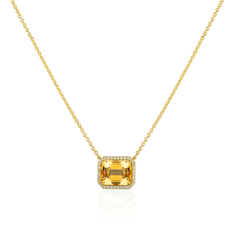 18KT Yellow Gold Citrine Diamond Imani Necklace