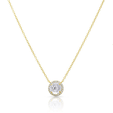 14KT Yellow Gold Diamond Round White Topaz Joy Necklace