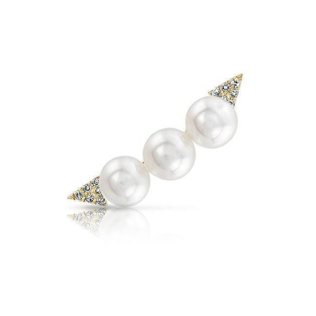 14KT Yellow Gold Pearl And Diamond Ear Climber
