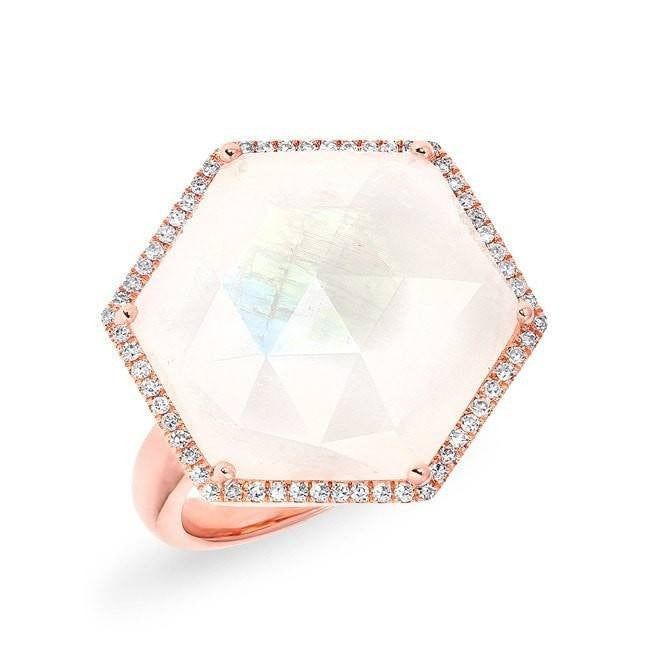 rose gold moonstone diamond hexagon cocktail ring
