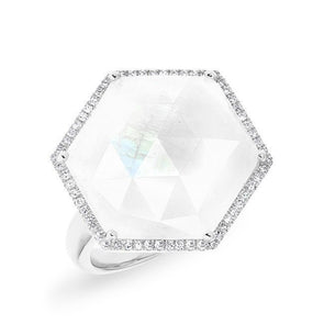 white gold moonstone diamond hexagon cocktail ring