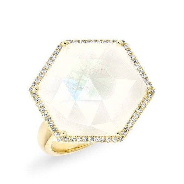 14KT Yellow Gold Moonstone Diamond Hexagon Cocktail Ring