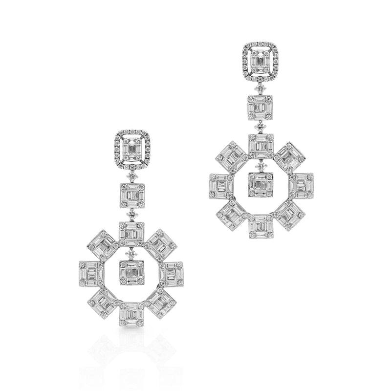 18KT White Gold Baguette Diamond Tiana Earrings