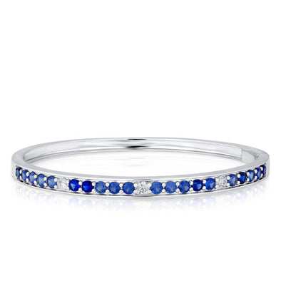 14KT White Gold Diamond Blue Sapphire Bangle Bracelet
