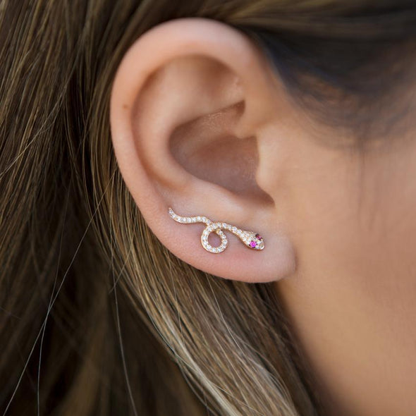 14KT Yellow Gold Pink Sapphire Diamond Snake Ear Climber