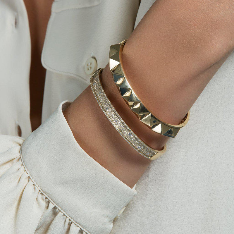 14KT Solid Rose Gold Harlow Spike Bangle Bracelet-Anne Sisteron