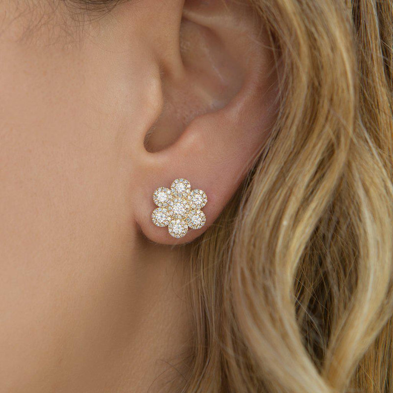 14KT White Gold Diamond Abigail Flower Earrings-Anne Sisteron