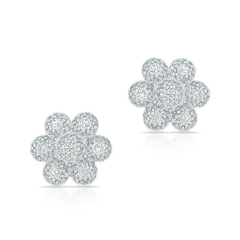 14KT White Gold Diamond Abigail Flower Earrings